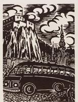 Car de touristes à Dinant, Frans Masereel, woodcut