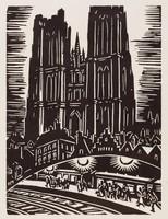 """Ste Gudule, sur la """"jonction"""", Frans Masereel, woodcut"""