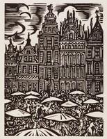 La Grand'Place - Bruxelles, Frans Masereel, woodcut