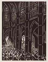 Gand - Cathédrale, Frans Masereel, woodcut