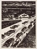 Autostrade, Frans Masereel, woodcut
