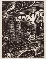 La Ville mord sur la Campagne, Frans Masereel, woodcut
