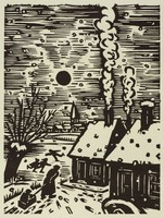 A snowy setting in Flanders shows houses topped with snow, children playing in an open field, and a woman pulling a child in a sled.