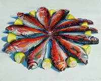Painting of eleven fish and lemon halves assembled in a circular fashion, with tails pointing to the center and heads on the outside. The fish heads have lemon halves placed near them, with the sectional cut side of lemon facing outwards of the circle. Fish are painted in red, orange white and black colors with blue shadows and bright yellow lemons with white and pale yellow flesh. Background is painted light gray.