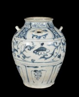 Jar with four loop handles, lappets with stylized floral patterns and a meandering floral design on upper half of body, all painted in underglaze cobalt blue oxide