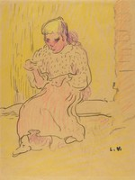 Sketch of a woman in a dress seated on a bench. She looks slightly downward with a solemn look. Her arms are raised to waist height, and her feet are spread apart.
