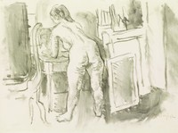 Back view of standing nude female leaning over small table.