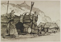 Sailors Home From The Sea (Etretat on the Normandy Coast, France), Samuel Chamberlain, drypoint; sepia