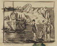 Bathers, George Wesley Bellows, conte crayon or charcoal on paper