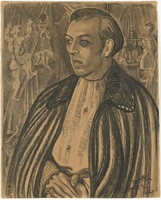 Portrait of Max Ewing, Mark Tobey, charcoal on paper