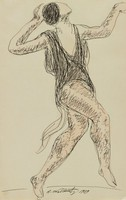 Isadora Duncan Dancing, Abraham Walkowitz, pen and black ink and brush and pink wash, on laid paper