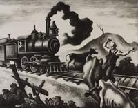 Slow Train Through Arkansas, Thomas Hart Benton, lithograph
