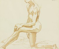 Kneeling Male Nude, Philip Pearlstein, brush and brown wash (with black chalk, unrelated to composition) on wove paper
