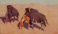 Indians Simulating Buffalo, Frederic Remington, Published by P. F. Collier and Son, offset lithograph