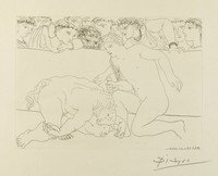"""In an arena, a minotaur lays defeated beside a crouching nude male as an audience looks on. This print is one of the minotaur subjects printed as part of the """"Vollard Suite."""""""