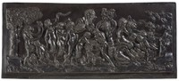 Large, heavy tablet of black basalt press-molded with the image in high relief of a Bacchanalian sacrifice - the frenzied scene of cherubs, satyrs, goats, and men playing horns with grape vines, twigs of grape leaves and bunches of grapes in a landscape with a tree to the left.