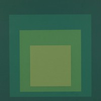 An abstract composition made of four squares layered onto one another in varying shades of green that darken gradually from the center out.