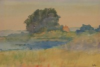 A House on a Potomac Inlet, August H. O.  Rolle, watercolor on paper