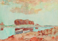 Rowboats on the Potomac, August H. O.  Rolle, watercolor on paper