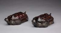 Pair of covered dishes in the form of turtles