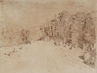 Outdoor scene - trees on right, hills in left background.  Portfolio of 6 etchings.  Posthumous print from copper plate executed by Carlsen.