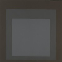 An abstract composition made of three squares layered onto one another in varying shades of grey that darken gradually from the center out.