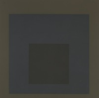 An abrastract composition made of three squares layered onto one another. The inner square is black, the second is navy, and the outer circle is dark brown.