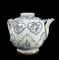 """Glazed stoneware ewer with """"ruyi"""" cloud panels below a lotus petal collar and above panels with Buddhist """"cintamani"""" jewels, all painted in underglaze cobalt blue oxide."""