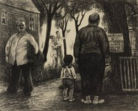 The Sights of the Town, Peggy Bacon, lithograph
