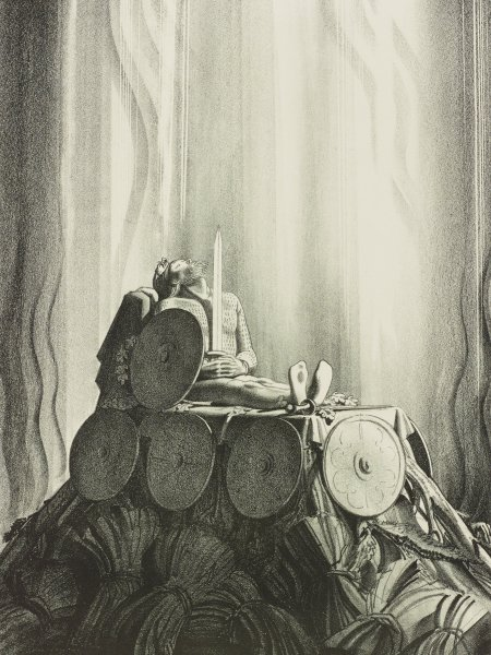 """Funeral Pyre (from the """"Beowulf"""" suite), Rockwell Kent, Printed by George C. Miller, lithograph"""