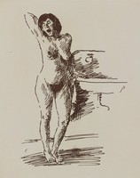 Yawning Nude Woman Standing by Sink, Raphael Soyer, etching