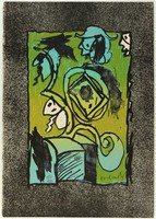 An abstract composition with shapes in black outline filled in with green, blue, and white. The margins are colored with black and white speckling.
