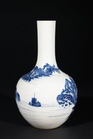 A finely painted landscape covers the body of the vase with scenes including buildings, boats, trees, etc.