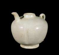 Water dropper of glazed stoneware with plain loop handle and spout
