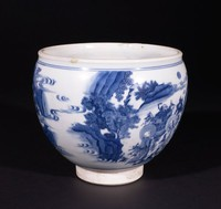Wide-Mouth Blue-and-White Bowl with Buddhas of the Three Times and Lohan