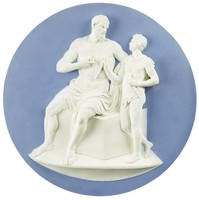 Large, heavy round plaque of solid light blue jasperware with applied decoration in white jasperware, in high relief the classical scene of Marsyas seated on a large block draped in an animal skin, his arm around the young Olympe, who himself is draped in an animal skin cloak and holds a flute in each hand.