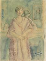 woman, fireplace