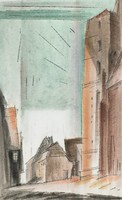 Kolberg, Lyonel Feininger, pen and black ink and watercolor; framing lines in black ink, on laid paper