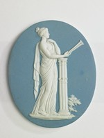 Light blue and white jasper; figure of the Muse of lyric poetry and music