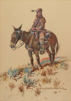 Trapper on a Mule, Nick Eggenhofer, gouache with graphite pencil