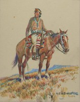 Navaho Indian, Nick Eggenhofer, gouache with graphite pencil framing lines