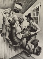 I Got a Gal on Sourwood Mountain, Thomas Hart Benton, Published by Associated American Artists, lithograph