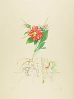Red, pink, and yellow flowering plant stem with a figure standing on a horse and a figure with a pointed headdress depicted in black and white.