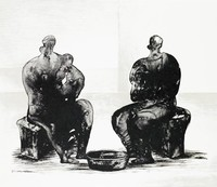 Two Women Bathing Child, Henry Moore, lithograph