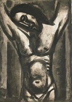 """A cropped view of Jesus hanging on the cross. This print is from the """"Miserere"""" series."""