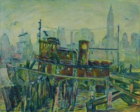 The Fireboat (The Resolute), Mortimer Borne, drypoint, color