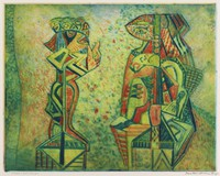 Conversation, Mortimer Borne, drypoint, color