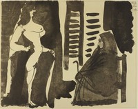 A nude woman stands in profile on the left side. A hooded woman sits in a chair in profile on the right side.
