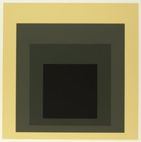 An abstract composition made up of four squares layered onto one another. The top square is black. Behind it is dark grey, lighter grey,  then yellow.