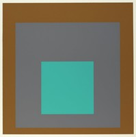 An abstract composition made up of three squares layered onto one another. The top square is teal. Behind it is greyish-blue then brown.